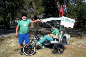 On the campaign trail with Stewart Eastman in his quadricycle.